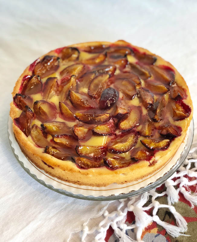 Plum Tart ~ Fresh plums baked with frangipane crème in a sweet crust