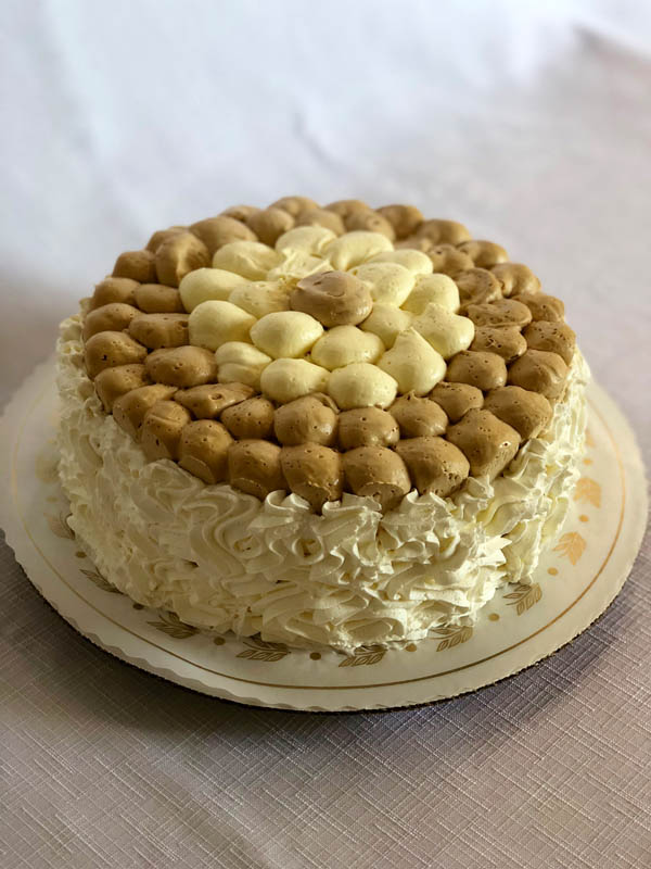 Tira Misu ~ Vanilla sponge cake layers with coffee and marscapone crème filling