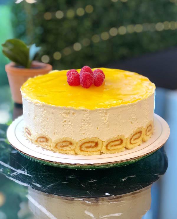 Passion Fruit & Raspberry Mousse Cake